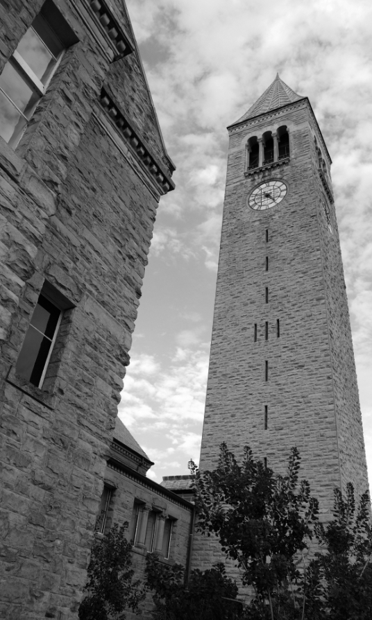 a photo of a clock tower at cornell university