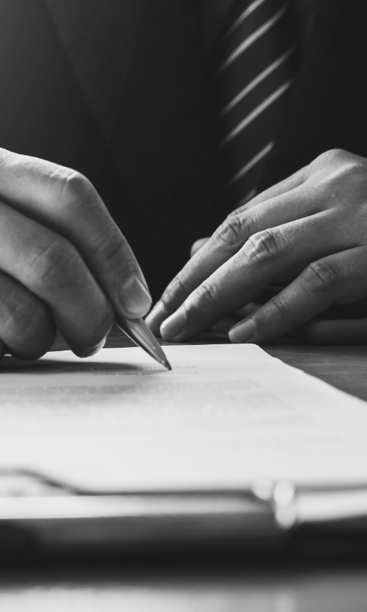 a photo of a person's hands writing on a document with a pen